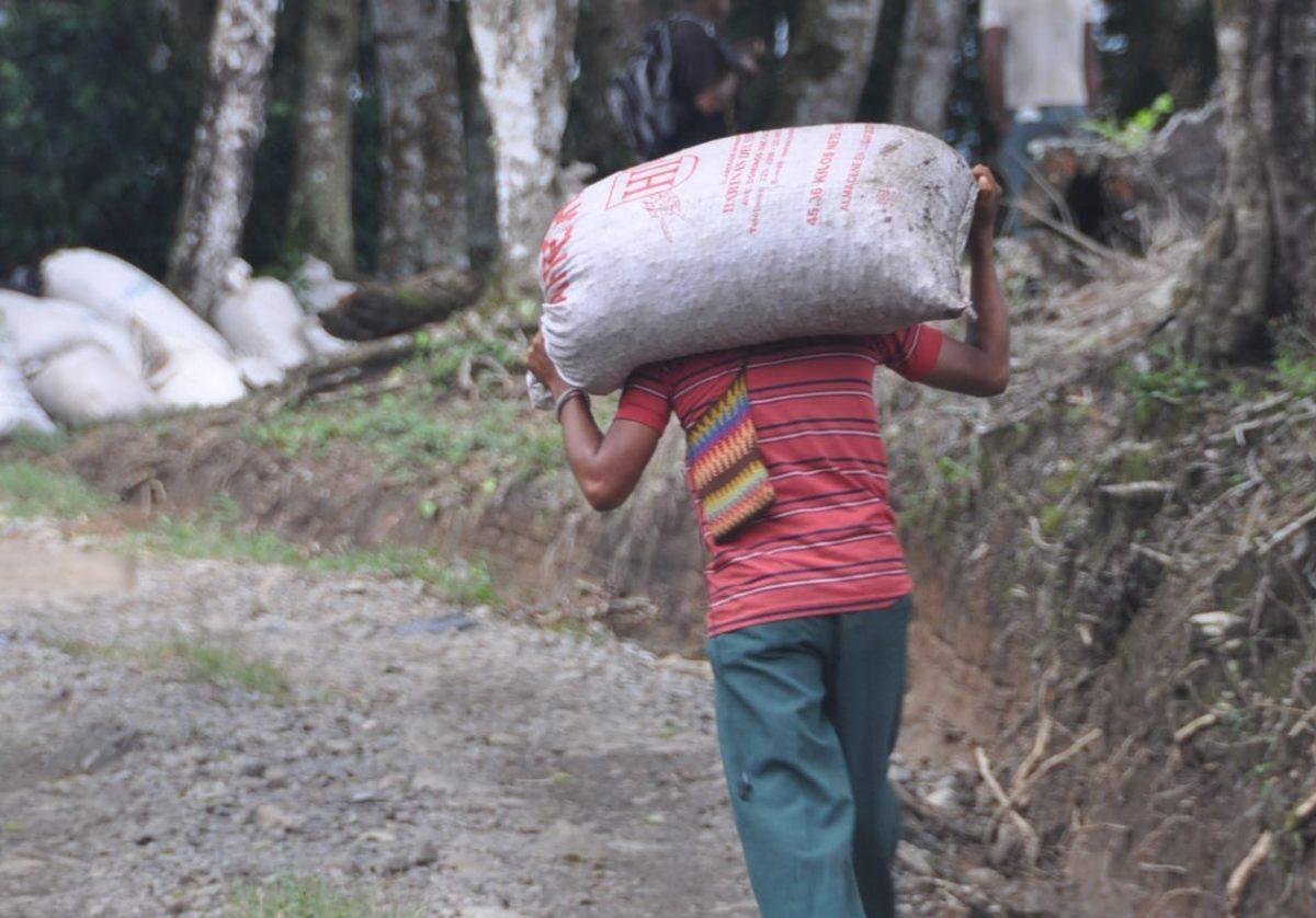 Homme portant un sac