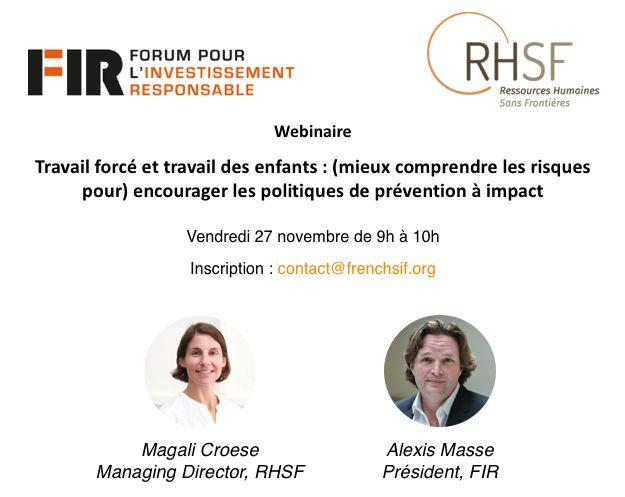 Affiche de promotion du webinaire, publiée par le FIR, sur laquelle on peut voir Magali Croese et Alexis Masse